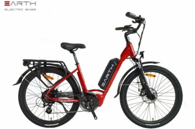 Earth Air Red Step Thru Mixie Electric Bike Red 600x600