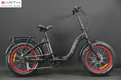 Eart Fat Tire Folding Ebike Black Without Basket 1 600x600