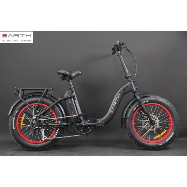 Eart Fat Tire Folding Ebike Black Without Basket 1 600x600